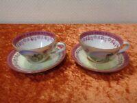 2 x 2 Pièces Porcelaine Tasse à Café/Moka / Espresso + Ut - Sächs. Suisse Bastei