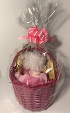 Large Filled Basket With Bath Fizzers, Brush, Pumice Stone, Wrapped