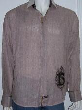 ENGLISH LAUNDRY CHRISTOPHER WICKS #13 BROWN WHITE EMBROIDERED STRIPED SHIRT XXL