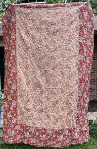 Williams Sonoma Quilt Coverlet Red Pink Paisley Striped Scalloped Hem Twin Size