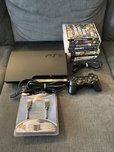 Sony Playstation 3 PS3 Slim 250GB Console Bundle - 10 Games, Controller, Tested!