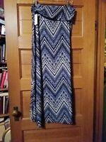 Womens Maxi Soft Long Navy Blue Paisley Chevron New York Laundry Skirt Size 2X