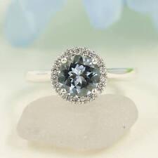 14k solid gold ring~Aquamarine ring~Engagement Ring~natural Diamond ring~SJR0543
