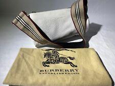 Burberry Classic White Pebble Leather Small Shoulder Handbag Tote Satchel Purse