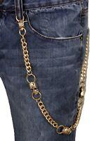 Men Gold Metal Wallet Chain Links KeyChain Biker Trucker 3 Skeleton Skull Charms