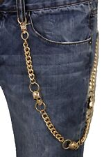Men Gold Metal Wallet Chain Links KeyChain Biker Trucker 3 Skeleton Skull Charms