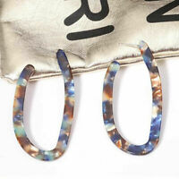 Fashion Women Acrylic Earrings Irregular Tortoise Shell Resin Hoop Earrings