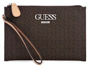 NEW GUESS Barnes Womens Handbag Wristlet Clutch Pouch Bag Wallet Brown Logo
