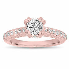 Diamond Engagement Ring 14K Rose Gold 0.80 Carat Vintage Style Unique Handmade