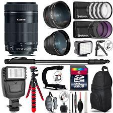 Canon 55-250mm IS STM + Slave Flash + LED Light + Tripod - 32GB Accessory Bundle