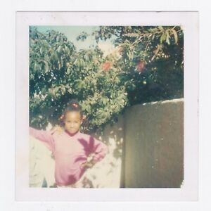 Square Vintage 70s Polaroid PHOTO Little Black Girl w/ Hand on Hip