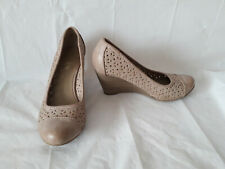 MONSOON LASER CUT-OUT DETAIL WEDGE COURT SHOES - BEIGE - SIZE 4