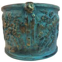 Terra Cotta Blue/Gold Glazed Pottery Large Round Planter