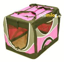 Cage pliable tissu rose de transport du chien chat 81x58x58 cm