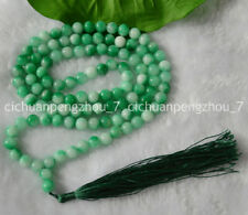 8mm Natural Green Jade Tibet Buddhist 108 Prayer Beads Mala Necklace C2192