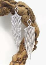 G12 Crystal Drizzle Cascade Drop EARRING Fish Hook Silver Tone Glam NEW