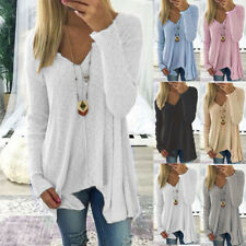 UK Womens Long Sleeve V Neck Blouse Ladies Knited Irregular Casual Jumpers Tops