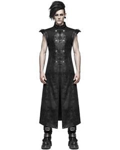 Punk Rave Mens Dieselpunk Armour Long Waistcoat Jacket Coat Vest Black Gothic