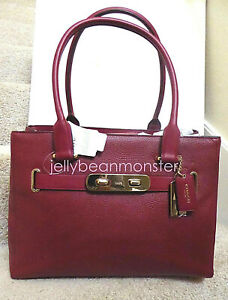 COACH 36488 SWAGGER POLISHED PEBBLE LEATHER CARRYALL TOTE BAG PURSE Black Cherry