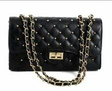 Quilted Shoulder Handbag Gold Chain Cross Body High Quality Bag Faux Leather A82