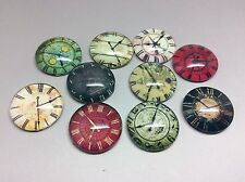 16mm Glass Cabochons x 10pcs Round Vintage Clock Faces Mixed Image Cameo