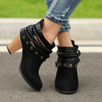 Women Ladies Ankle Boots Strappy High Block Heel Martin Zipper Shoes Size 6-10.5