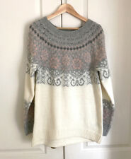 H&M Women Sweater Dress Fair Isle Cream Pink Gray Pastel Boat Neck Tunic Ribbed