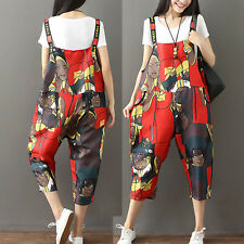 2018 Summer Graffiti Pattern Casual Loose Overalls Dungaree Cropped Harem Pants