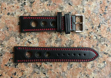 22mm Black Red Stitches Rally Racing 3 Big Hole Genuine Leather Watch Band,Strap