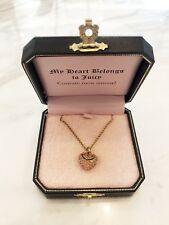 Authentic Juicy Couture Wish Pave Heart Necklace Gold Tone Pink Stone with Tags