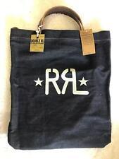 Genuine Double RL White RRL Logo Blue Denim & Leather Postman Messenger Bag