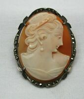 Vintage Silver And Marcasite Mounted Carved Cameo Brooch / Pendant