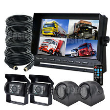 """9"""" QUAD MONITOR WITH DVR 4X 15M 4PIN BACKUP CCD CAMERA SAFETY SYSTEM FOR TRUCK"""