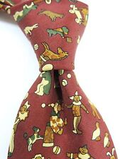 Liberty 100% Silk Tie - Clowns Horses Cows  Red Browns - Ultimate Luxury