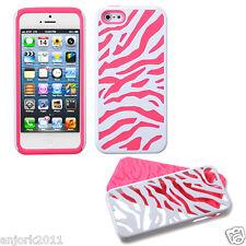 APPLE iPHONE 5 HARD ZEBRA FUSION HYBRID CASE SKIN COVER ACCESSORY WHITE/PINK