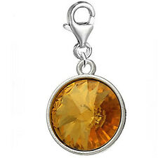 Round November Birthstone Rhinestone Clip on Charm Pendant for European Charm Je