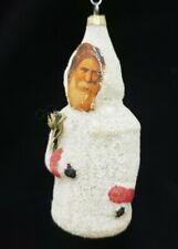German Vintage 1930's Santa with Scrap Face Glass Ornament