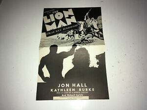 LION MAN Movie Pressbook Edgar Rice Boroughs ERB Arabian Adventire Jon Hall r40s