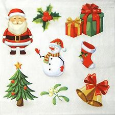 4 Single Lunch Party Paper Napkins for Decoupage Decopatch Craft Christmas Signs
