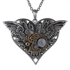Steampunk Winged Gear Heart Necklace Pendant Alloy Metal