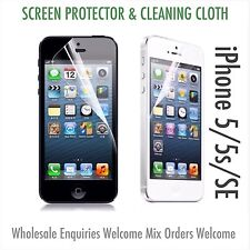 Iphone 5 5s 5c iPhone SE Screen Protector & Cloth Wholesale Job Lot x 10