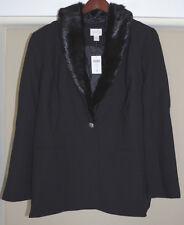 Chico's Faux Fur Collar Black Blazer Jacket Size 3 16 18 XL New 1X