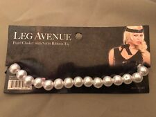 Costume Pearl Choker With Black Satin Ribbon by Leg Avenue