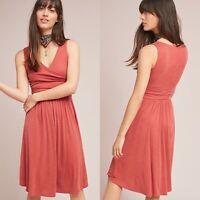 Anthropologie Maeve Nora Dress Burnt Orange Faux Wrap Sleeveless Size Large