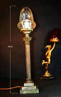 Vintage 19th C Victorian bronze Corinthian column table lamp rare handmade shade