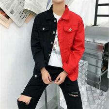 Rock Mens Long Sleeve Patchwork Buttons Denim Jeans Casual Outwear Jacket Coats