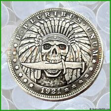 1921 Hobo Morgan Dollar Coin - Indian Skull with Knife - Rare!