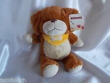 Doudou chien marron, écru, bandana jaune, Althans Club