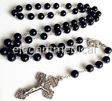 XL 10MM Black Obsidian BEADS 5 DECADE ROSARY ITALY CROSS Catholic NECKLACE GIFT