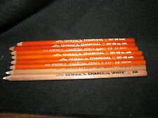 8 General's Charcoal drawing pencils USA 557 black 2B med 4B soft 6B ex soft 558